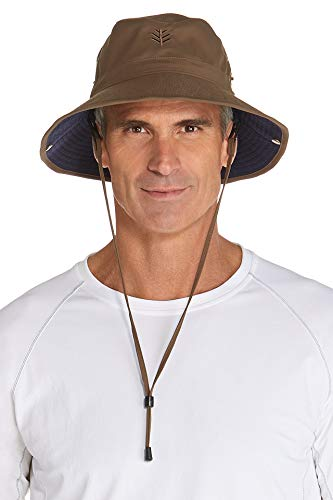 Coolibar UPF 50+ Men's Featherweight Bucket Hat - Sun Protective (Large/X-Large- Khaki/Navy) ()