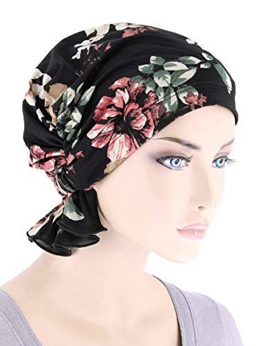 Abbey Cap Womens Chemo Hat Beanie Scarf Turban Headwear for Cancer Black Rose Floral