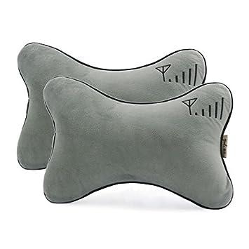 Amazon.com : eDealMax 2 piezas de espuma de Memoria almohadilla del Cuello del asiento de coche soporte de la cabeza del cojín del amortiguador gris : Baby