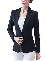 MFrannie Women Notch Lapel One Button Lined Slim Fit Blazer Jacket