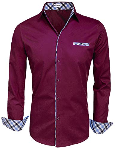 HOTOUCH Men's Printed Dress Shirt Cotton Casual Long Sleeve Shirts Regular Fit Button Down Point Collar Shirt Burgundy M