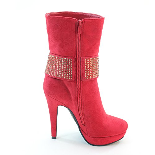 Womens High Metallic Red Chain Platform Brieten Boots Heel Short dpc5ndqB