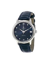 Omega De Ville Prestige Automatic Blue Diamond Dial Blue Leather Ladies Watch 42413332053001 by Omega