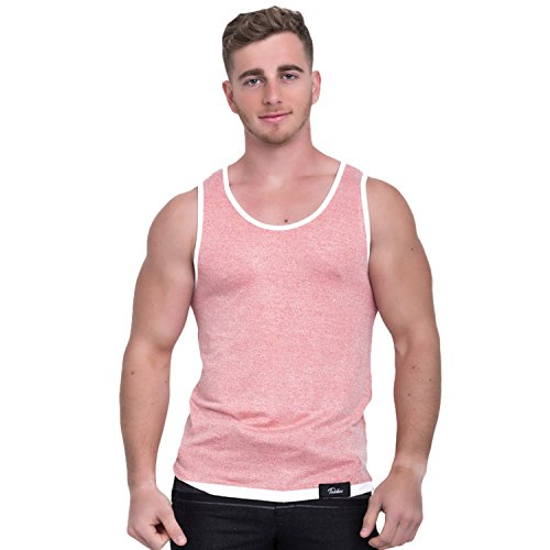 Taddlee Men Cotton Tank Top Sleeveless Solid Color Tshirt Slim Fit Soft Singlets (S, Red)