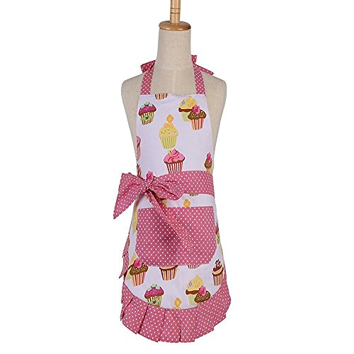 First Kitchen Mother's Day Gift Apron,100% Cotton Cupcake Apron,Women's Cooking or Baking kitchen Apron with One Practical Front Pocket Great Choice for Your Kitchen (Cupcake -