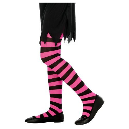 6-12 Years Black & Fuchsia Children's (Tights Girls Costumes Stockings)