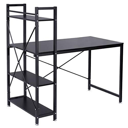 New Black Modern Computer Desk with 4-Tier Shelves PC Workstation Study Table Home Office ()