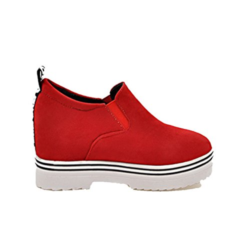 Suede Imitated Boots Heels Round Solid Red AgooLar Pull Toe Women's On High UYRwqY