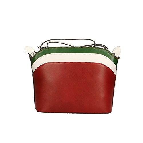 in para Aren Hombro genuina Made Cm Mujer Bag 22x19x7 Bolso Multicolor de de Italy Shoulder Piel PPRqUg