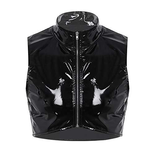 (ranrann Men's Wet Look Shiny Metallic Zipper Front Muscle Crop Tank Tops Nightclub Short Vest Cami Shirt Clubwear Black Medium)