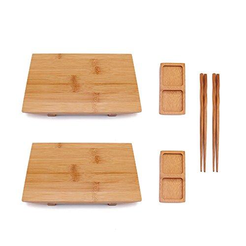 BambooMN Bamboo Sushi Board Tray, Chopsticks and Compartment Sauce Dish, 9.8