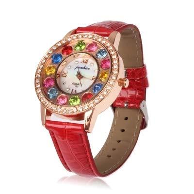 Reloj Diamante elegante Graduado (color (falso) con pulsera de piel Rojo