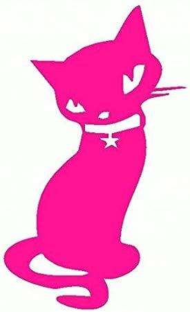Gato-Collar con pegatinas Prespaziato-- 10 cm, color Fucsia: Amazon.es: Coche y moto