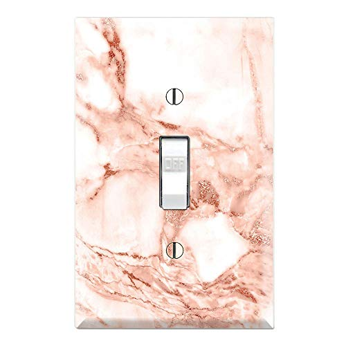 (Graphics Wallplates - Rose Gold Marble Background Print - Single Toggle Wall Plate Cover)