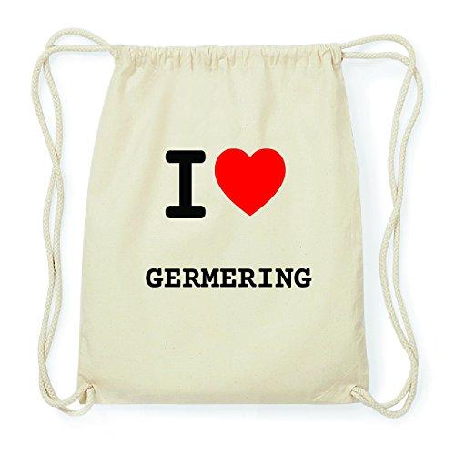 JOllify GERMERING Hipster Turnbeutel Tasche Rucksack aus Baumwolle - Farbe: natur Design: I love- Ich liebe LOIdcuUr
