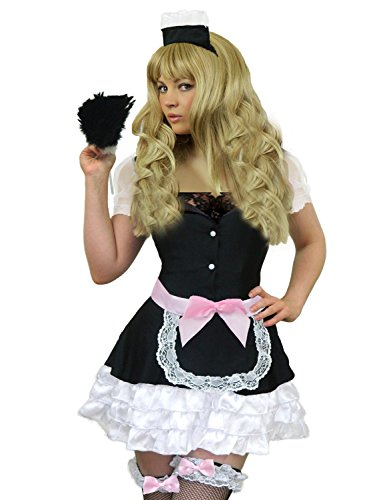 Yummy Bee Womens French Maid Costume + FEATHER DUSTER Black Size 10 - 12 (Chambermaid Costume)