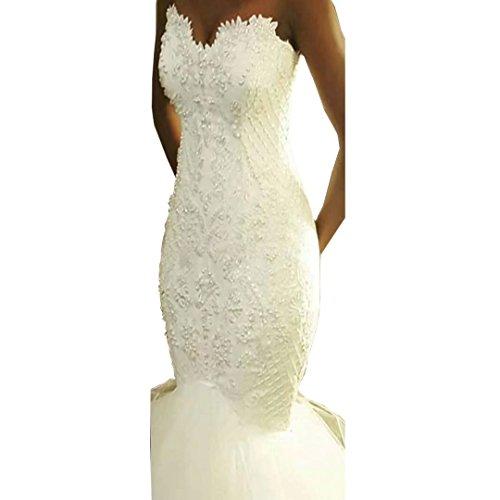 Diigi Perles Robe De Mariée Sirène 2018 Robes De Mariée Chérie Robes De Mariée Sirène Longue En Tulle Ivoire