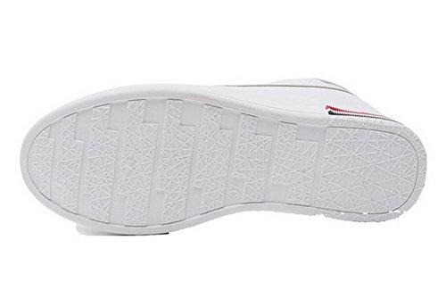 AgooLar Damen Rund Zehe Mittler Absatz Schnüren Gemischte Farbe Pumps Schuhe Weiß