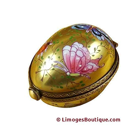 EGG DECOR BUTTERFLY ON GOLD BASE - LIMOGES BOX AUTHENTIC PORCELAIN FIGURINE FROM FRANCE