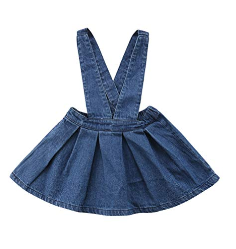 Specialcal Baby Girls Velvet Suspender Skirt Infant Toddler Ruffled Casual Strap Sundress Summer Outfit Clothes (3-4T, Blue) (Skirt Denim 4t)