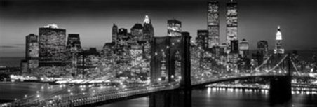 New York City NYC Brooklyn Bridge Panoramic Skyline Cityscape Photography Poster 12 x 36 inches