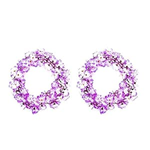 Domccy 2pcs Exquisite Azalea Garland Multi Usage Silk Flower Vine Decorative Artificial Flowers Garland for Wedding Garden White and Purple Household Items, Tools, Accessories, Decorations 78