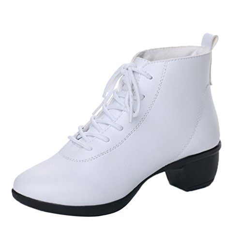 Sneaker Couleur YouPue Jazz Chaussures De Danse Cuir Moyen Talon Modern Blanc Lacets Femmes Baskets Solide gx0qfOwrAg