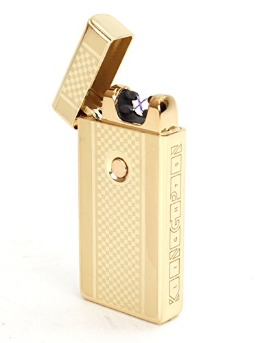Kingpin Lights™ Gold Electric Arc Lighter - Windproof Dual Arc Plasma Lighter - USB Rechargeable Dual Pulse Electronic Lighter - Flameless Plasma Beam Lighter