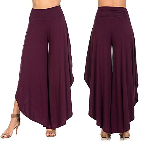 CROSS1946 Women's Layered Wide Leg Flowy Cropped Palazzo Flare Pants High Waist Trousers Long Skirt Loose Fit