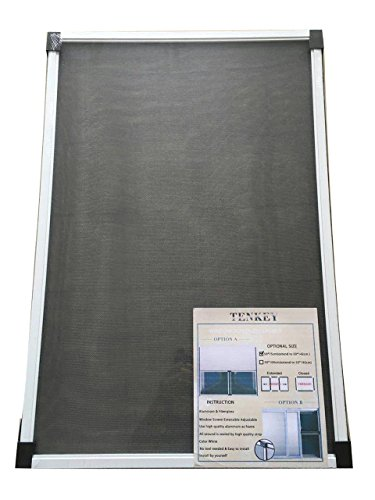 Tenkey Adjustable White Mosquito Proof Window Screen 19.86' High x (30~52.8')