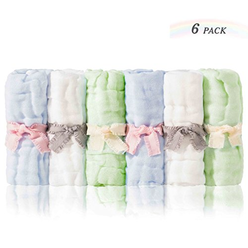 Sense Gnosis Natural Muslin Baby Washcloths Soft Hypoallergenic Absorbent Bath Washcloths Reusable Cotton Wipes for Newborn Babies 10x10 inch Baby Shower Face Towels Set of 6(White/Green/Blue) by sense gnosis
