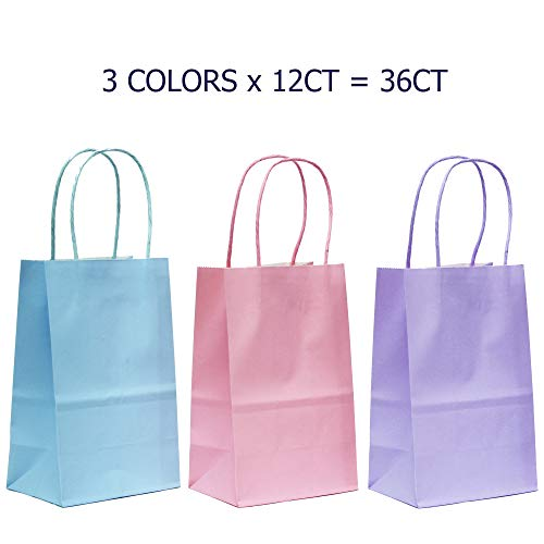 36-Count Small Pastel 3 Assorted Color Kraft Bags - Premium Paper Bags with Colored Sturdy Handles, Biodegradable & Sturdy, Food Safe Shopping Bag, Gift Bag (Pastel, Small-36 Count)