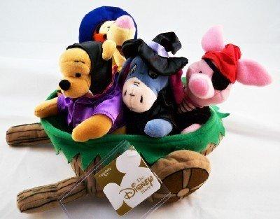 Disney Pooh Halloween Wheelbarrow Bean Bag Plush Set of 4 ()