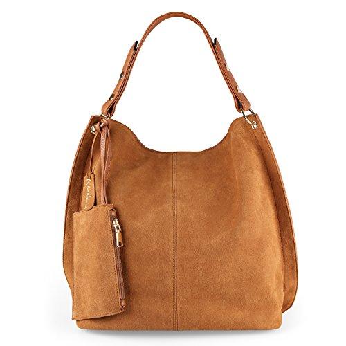 Nico Louise Women Genuine Suede Leather Large Hobo Purse Shoulder Bag (Yellow (Genuine Suede Leather Handbag)