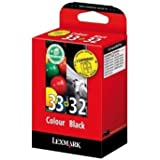 Lexmark No 32 And No 33 Ink Cartridge Black And Colour Combo-pack 15.6ml And 11.5ml