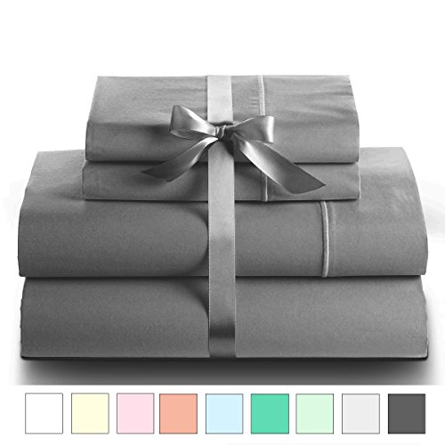 Cotton Sheet Set - 800 Thread Count-Sale on bed sheets - 100% Pure Cotton - Sateen Weave Queen Sheets- Deep Pocket Sheets - 4 Piece Queen Sheet Set, India (Queen, Elephant Grey) (800 Tc Sheets Queen)