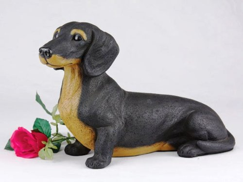 Dachshund Shorthair Black and Tan Cremation Pet Urn for secure installation of your beloved pet's ashes indoors or outdoors