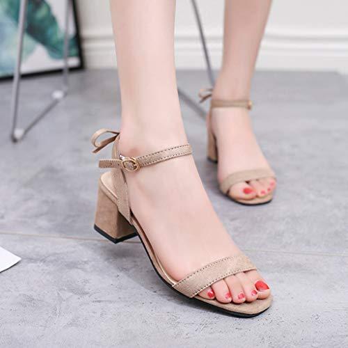 Sandales Med Casual Solide Femmes Kaki Salle Boucle Bal femmes Talon Carré Sangle De Chaussures Haut H71HOq