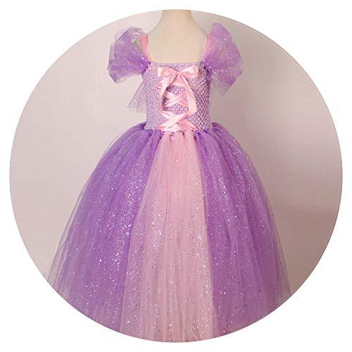 Tulle Girls Rapunzel Princess Dress Costume Children Masquerades for Kids,Lavender,4T -
