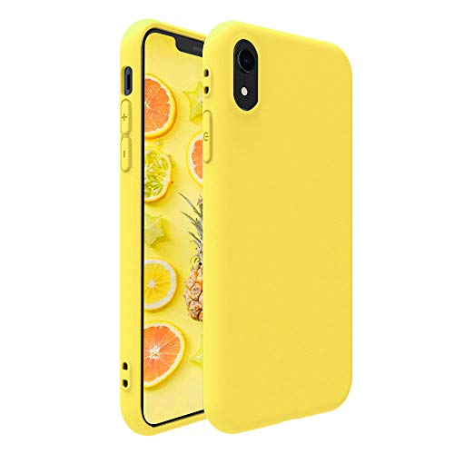 iPhone XR Case,Pelipop Colorful Yellow Slim Fit Anti-Scratch Soft TPU Gel Silicone Skin Frosted Protective iPhone Cover for iPhone XR(Yellow)