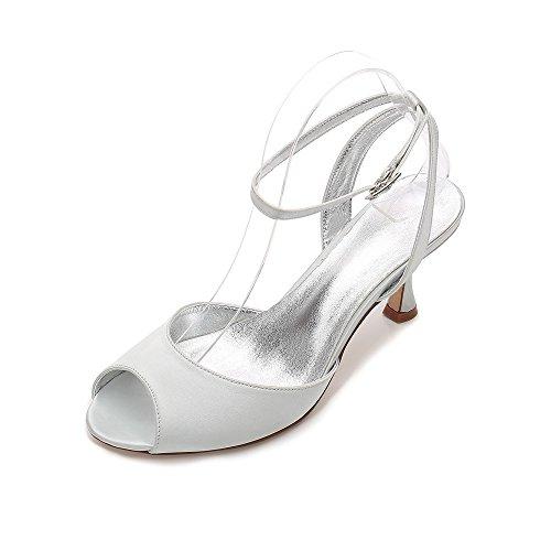 Femmes Travail De Zxstz Chaussures Bal Slingback Boutonnière Sandales Décolleté Argent Avec La Party Pour FSH6wE