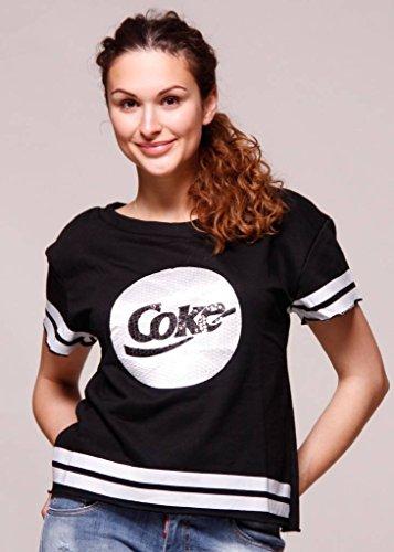 SASSYCLASSY lässiges Shirt mit COKE Print und Pailletten