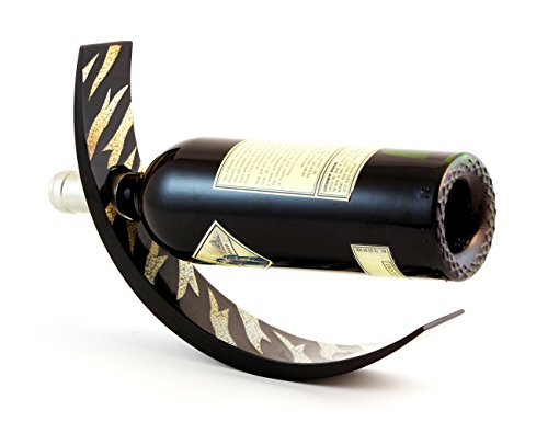 ARC Lacquer Wood Wine Bottle Holder - Balances Wine in the Air, Eggshell Tiger Pattern