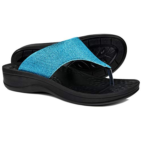 AEROTHOTIC Comfortable Arch Support Flip Flops for Women (EU 41, Jewel Blue) (Flip Flips With Arch Support)