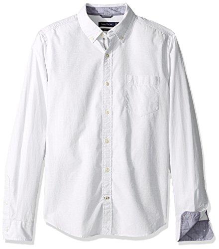 Nautica Mens Long Sleeve Solid Button Down Shirt
