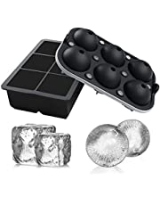 FSDUALWIN Ice Cube Trays 2 Pack, Large Ice Cube Mold for Chilling Bourbon Whiskey, Cocktail, Beverages and More (Black)