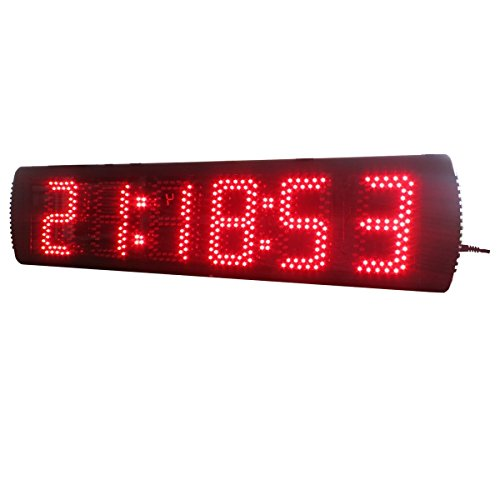 AZOOU 5-inch Hight Character Single Sided LED Sport Timing Clock Countdown/up Timer with IR Remote Control Red Color by AZOOU (Image #4)
