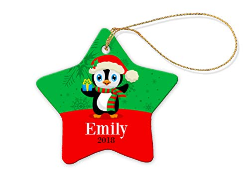 Star Christmas Ornaments by Dinkleboo - Personalized Decoration for Holidays - 100% Porcelain with Gold String - Tough, Durable with Glossy Finish - Perfect Gift Idea (Penguin)