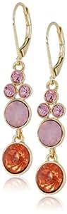 "Napier ""Lovely Style"" Gold-Tone Pink Multi-Drop Earrings"