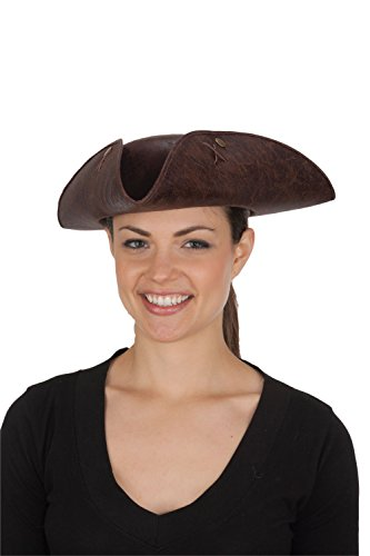 Jacobson Hat Company Women's Distressed Faux Leather Tricorne, Brown, Adult